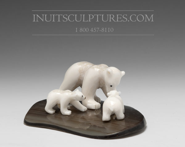 "RESERVED** 4"" Miniature Ivory Bear Family by Tarsis Pillakapsi"