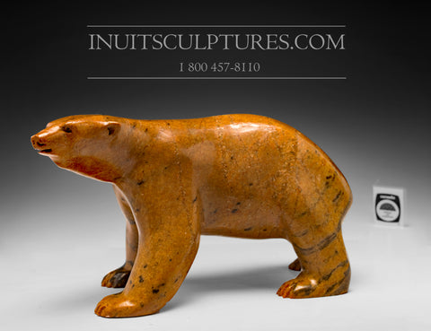 "13"" Masterpiece Peako Orange Walking Bear by Bill Nasogaluak"