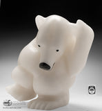 "12"" White Marble Dancing Bear by Morris Alorut"