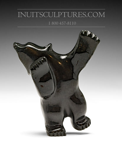 "3.5"" Black Dancing Bear by Johnny Papigatook"