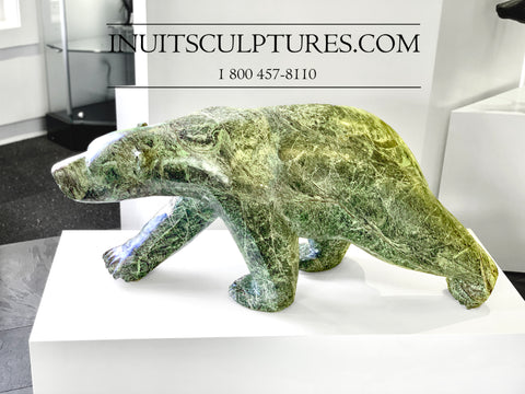 Bear of the century- 600 lbs Classic Green Walking Bear by Joe Jaw Ashoona