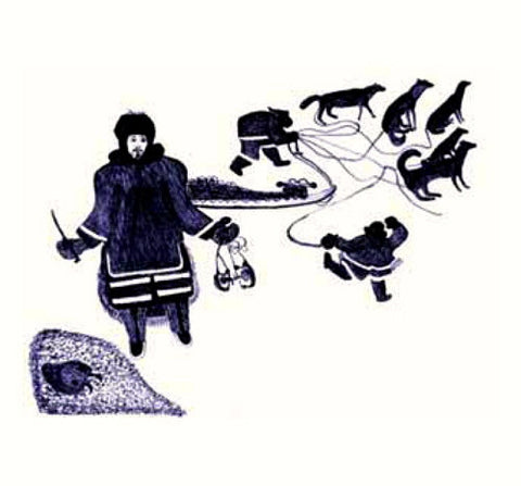 1984 INUIT TRAPPERS AND DOGS by Oshoochiak Pudlat
