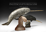 "30"" Mother and Calf Narwhals by Inuk Charlie"