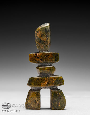 "4.5"" Brown Inukshuk by Akivak Manitook"