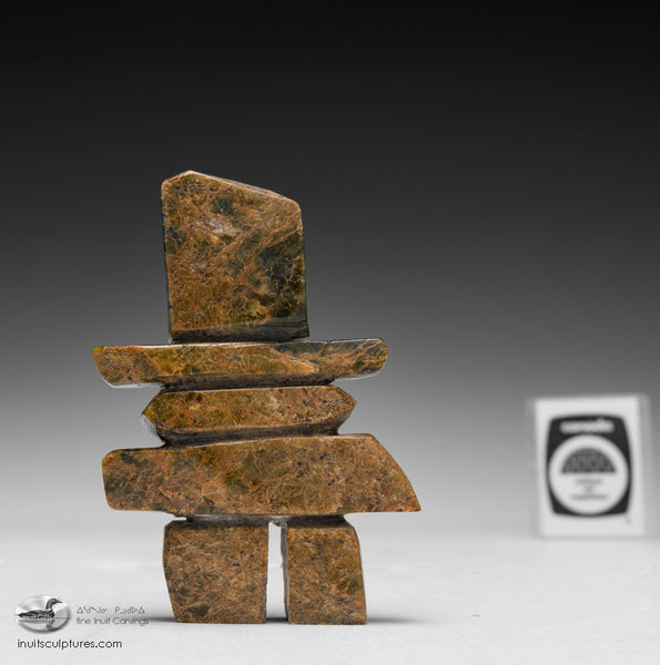 "4.5"" Brown Inukshuk by Elis Parr"