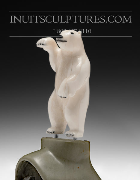 "6"" White Dancing Bear with Seals by Famous Jimmy Iqaluq"