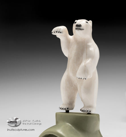 "5"" White Dancing Bear with Seals by Famous Jimmy Iqaluq"