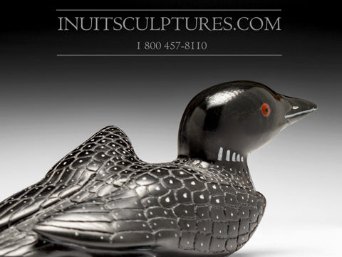 "8"" Black Loon with Inlay Eyes by Jimmy Iqaluq"
