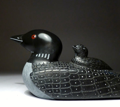 "Black 9"" Black Mother Loon with Inlay Eyes by Jimmy Iqaluq"