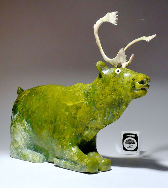 "11.5"" Apple Green Resting Caribou by Joamie Aipeelee"