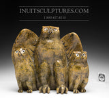 "11"" Protective Mother Owl with Her Chicks by Joanasie Manning"