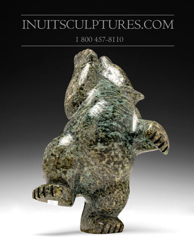 "8"" Dark Green Dancing Bear by Johnny Papigatook"