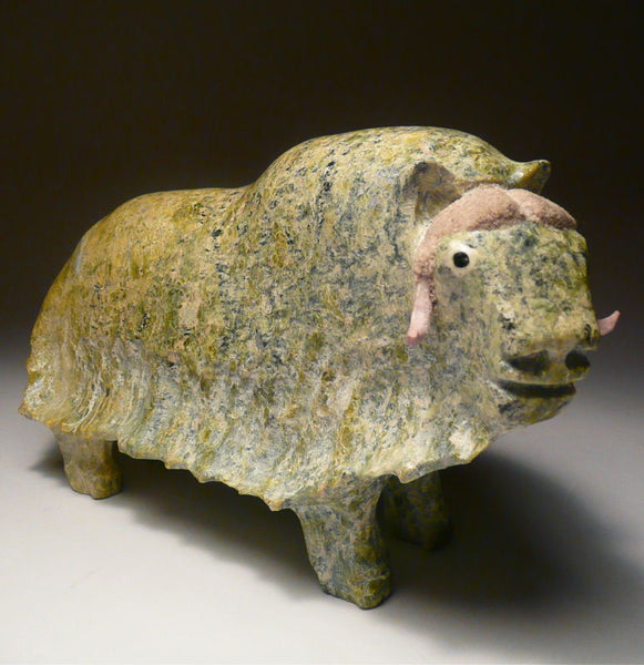 "7.5"" Lime Green Muskox by Joamie Aipeelee"