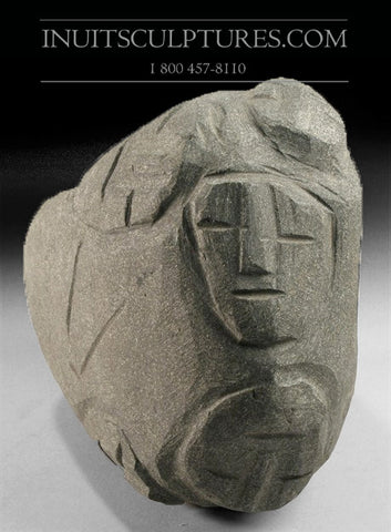 "8"" Faces by Inuit Art Pioneer Late Lucy Tasseor Tutsweetok (1934-2012)"