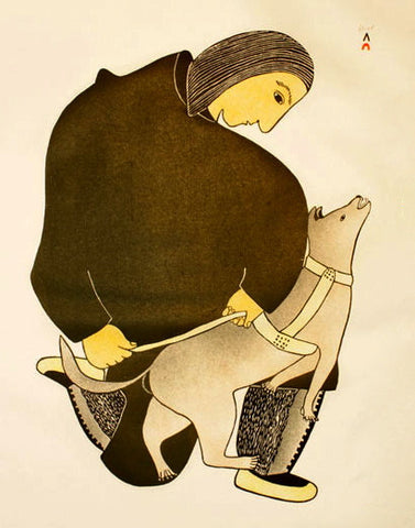 1985 MAN HARNESSING DOG by Pitaloosie Saila