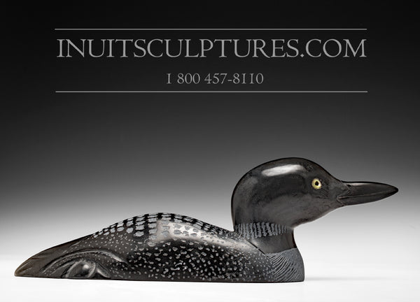 "11"" Loon with Gemstone Eye by World Famous Manasie Akpaliapik"