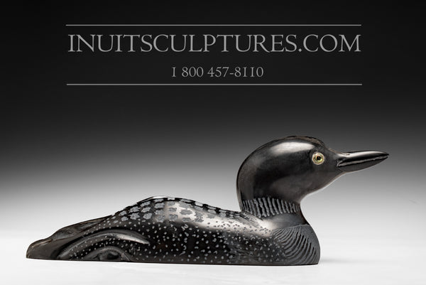 "10.5"" Loon with Gemstone Eye by World Famous Manasie Akpaliapik"