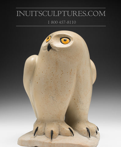 "12"" Pale Yellow Owl by World Famous Manasie Akpaliapik"