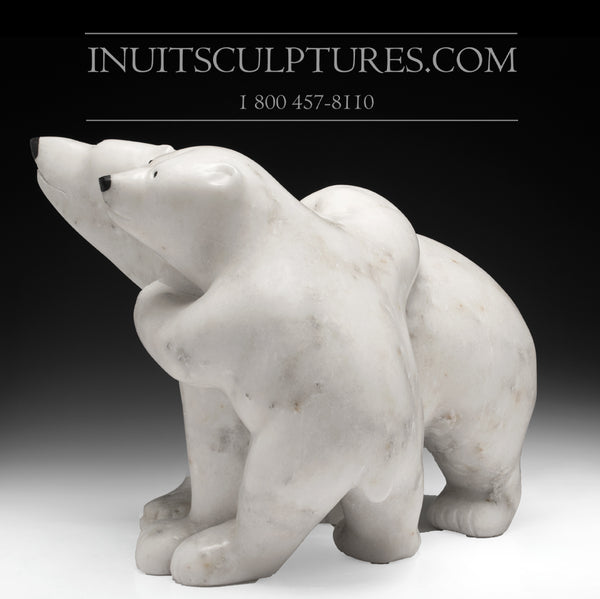 "22"" Mother bear hugging her cub by World Famous Manasie Akpaliapik"