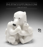 "12"" Mother bear hugging her cubs by World Famous Manasie Akpaliapik"