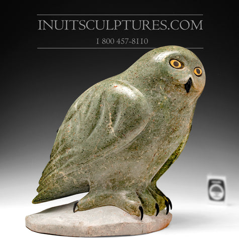 "RESERVED** 13"" Green Owl by World Famous Manasie Akpaliapik"