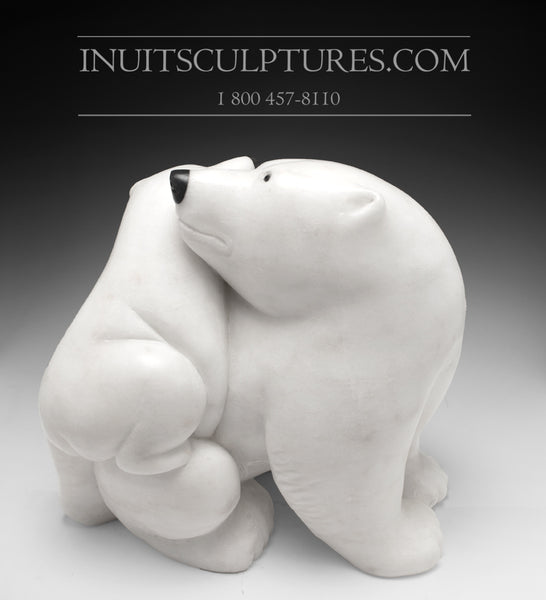 "14"" Mother bear hugging her cub by World Famous Manasie Akpaliapik"