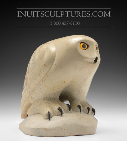 "10"" Pale Yellow Owl by World Famous Manasie Akpaliapik"