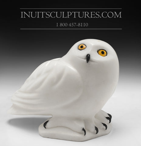 "RESERVED** 9"" White Owl by Famous Manasie Akpaliapik"