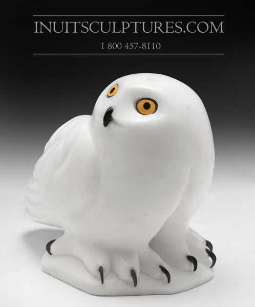 "Curators Choice - 9"" White Owl by Famous Manasie Akpaliapik"