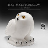 "Curators Choice - $500 Off - 9"" White Owl by Famous Manasie Akpaliapik"