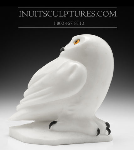"RESERVED** 9"" Pure White Owl by Famous Manasie Akpaliapik"