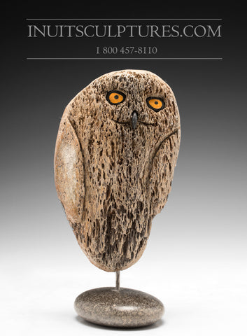 "RESERVED** 7"" Shaaman Owl Transformation in Baleen Whale Bone by World Famous Manasie Akpaliapik"