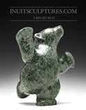 "7"" Dark Green Dancing Bear by Markoosie Papigatok"
