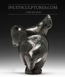 "6"" Chubby Black Dancing Bear by Markoosie Papigatok"