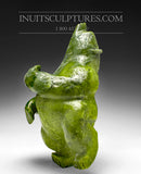 "11"" Dancing Electric Green Bear by Mosesee Pootoogook"