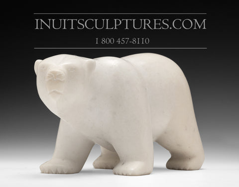 "RESERVED** 10"" Electric White Marble Walking Bear by Ningeosiak Ashoona"
