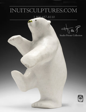 "17"" Rare White Marble Dancing Bear by Nuna Parr"