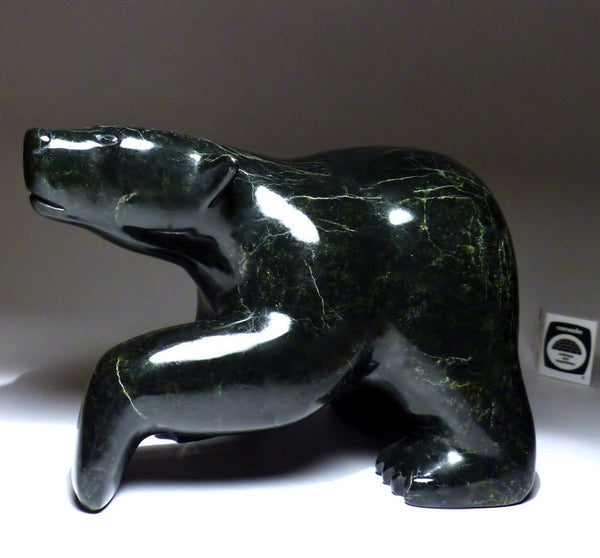 Large and heavy 13 lbs Black Marble Stone Bear by Nuyalia Tunnillie