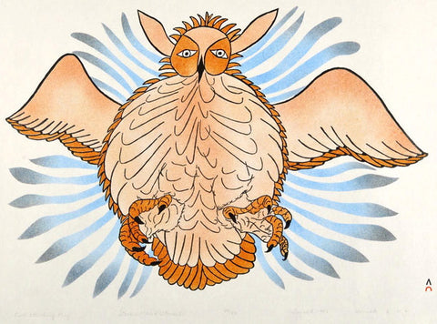 1981 OWL ATTACKING PREY by Haunak Mikkigak
