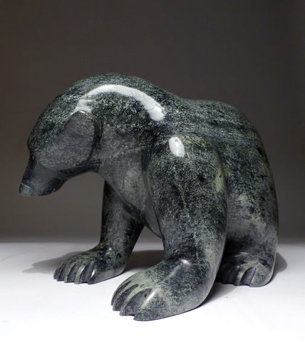 "Voluptuous 9"", 10lbs. Dark Stone Walking Bear by Ottokie Samayualie"
