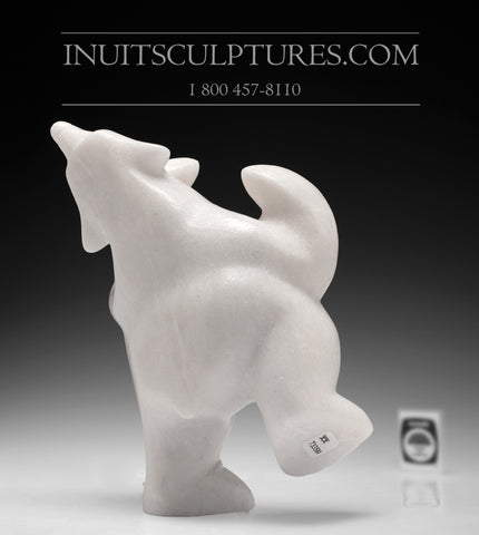 "9"" Stunning White Marble Dancing Bear by Ottokie Samayualie"