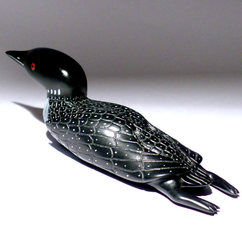 "10"" Black Loon with Feet and Inlay Eyes by Jimmy Iqaluq"