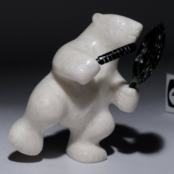 "5"" White Drumming Bear by Taqialuk Nuna"