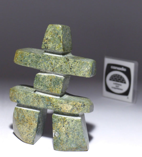"4"" Green Inukshuk by Ooloopie Killiktee"