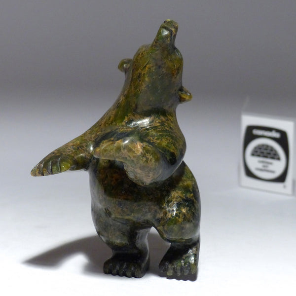 "4.75"" Playful Brown Dancing Bear by Mosesee Pootoogook"