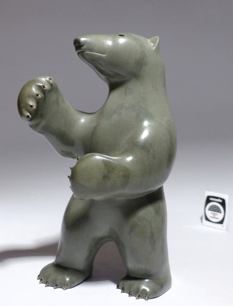 "8.5"" Bear with Inlay Claws and Eyes by Famous Jimmy Iqaluq"