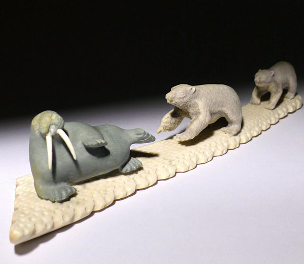 "11"" Basking Walrus and Two Bears by Lukie Airut"