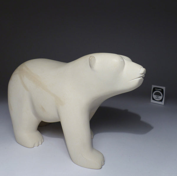 "9"" Velvet White Walking Bear by Late Peter Parr (1970-2012)"