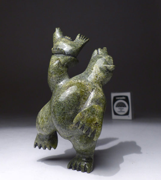 "4.25"" Dancing Bear with Seal by Mosesee Pootoogook"