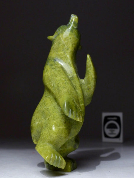 "5.5"" Apple Green Dancing Bear by Mosesee Pootoogook"